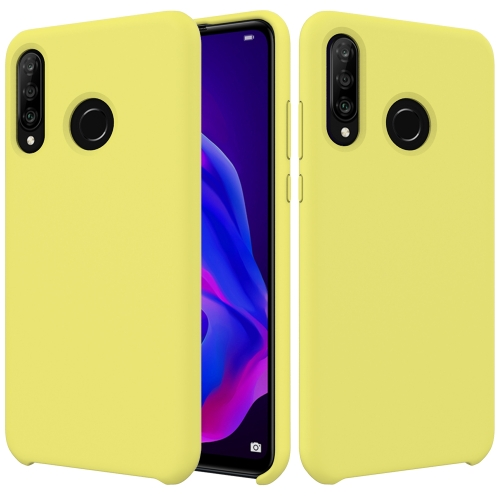 Solid Color Liquid Silicone Dropproof Protective Case for Huawei P30 Lite/Nova 4e(Yellow)