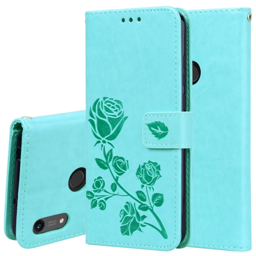 Rose Embossed Horizontal Flip PU Leather Case for Huawei Honor 8A/Y6 2019, with Holder & Card Slots & Wallet(Green)