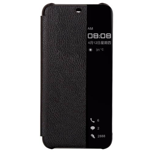 Litchi Texture Smart Horizontal Flip Leather Case for Huawei Mate 20 Lite, With Call Display ID (Black)