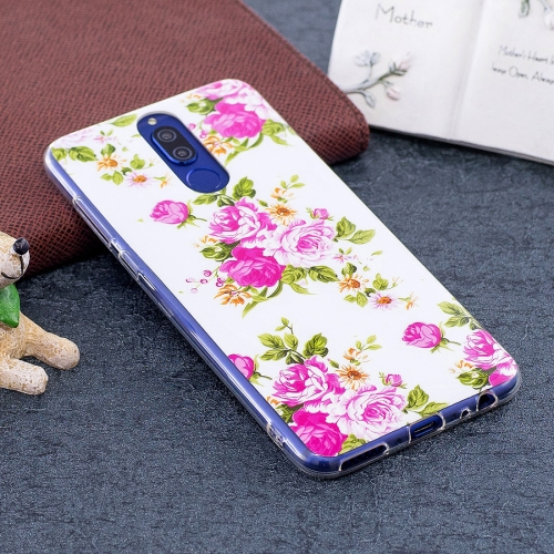 Huawei Mate 10 Lite Noctilucent Rose Flower Pattern TPU Soft Back Case Protective Cover