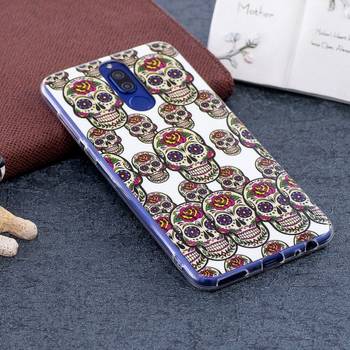 Buy Huawei Mate 10 Lite Noctilucent Rose Skull Pattern TPU Soft Back Case Protective Cover for $1.41 in SUNSKY store