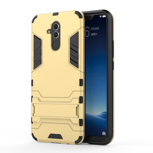 Shockproof PC + TPU Case for Huawei Mate 20 Lite, with Holder(Gold)