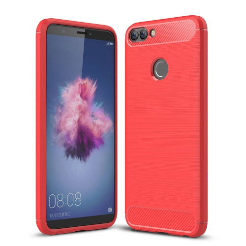 For Huawei P smart / Enjoy 7S Brushed Texture Carbon Fiber Shockproof TPU Protective Back Case (Red)