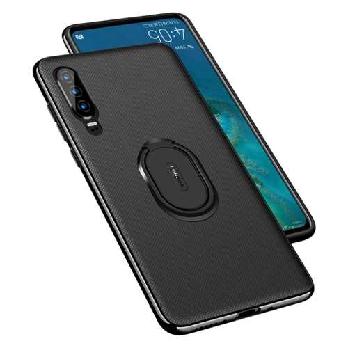 LONDOR Shockproof PC + TPU Case for Huawei P30 Lite, with Metal Holder(Black)