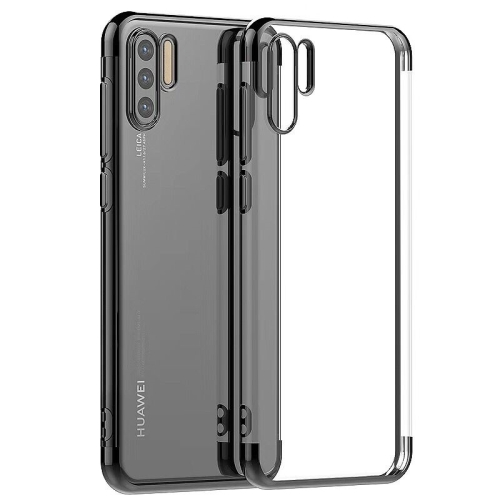 Three Sections Electroplating Side TPU Protective Back Case for Huawei P30(Grey)