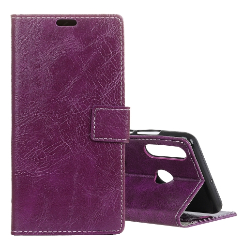 Retro Crazy Horse Texture Horizontal Flip Leather Case for Huawei P30 Lite, with Wallet & Holder & Card Slots & Photo Frame (Purple)
