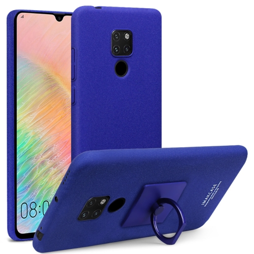 IMAK Matte Touch Cowboy PC Case for Huawei Mate 20 X, with Holder & Screen Sticker(Blue)