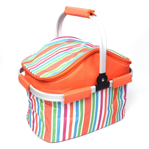 Buy 20L Orange Stripe Cloth Outdoor Beach Picnic Storage Basket, Insulated Basket for $7.32 in SUNSKY store