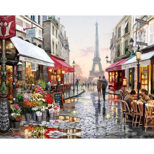 DIY Creative Paint By Numbers Oil Painting Paris Flower Street Art Painting without Framework, Size: 40*50 cm chinese name stamp seal for painting calligrpahy art stamper seal painting supplies