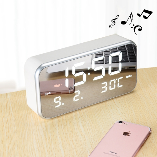 Buy Multi-functional Large Screen LED Digital Music Alarm Clock with Time / Week / Temperature / Calendar Display & Remote Control, DC 5V for $20.46 in SUNSKY store