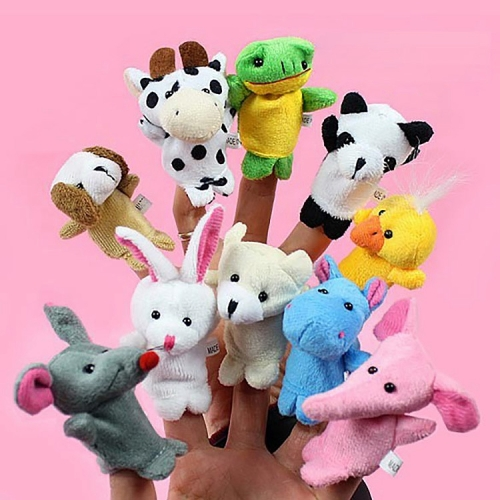 10 PCS Story Telling Kids Puppets Cute Zoo Farm Animal Cartoon Finger Plush Toy Hand Dolls, Random Color Delivery