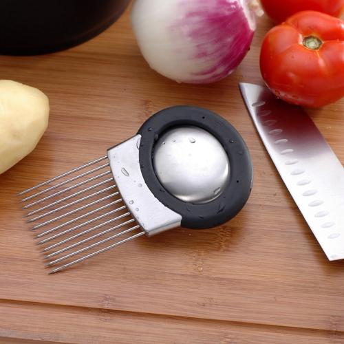 Stainless Steel Onion Cutter Onion Holder Fork Vegetable Slicer Tomato Needle