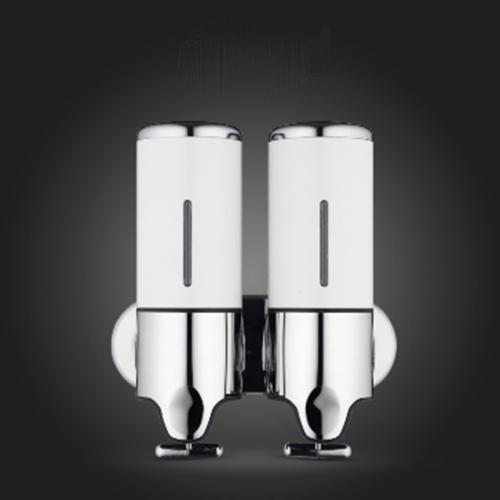 Dual Hotel Shower Manual Dispenser Wall Mounted Washing Liquid Shampoo Soap Bottle, Capacity: 1000ml(White)