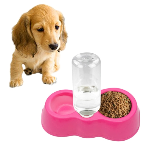 Buy Dog Cat Food Dish + Drinking Water Double Bowls with Automatic Water Dispenser, Magenta for $1.29 in SUNSKY store