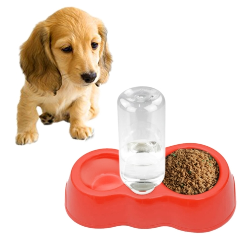 Buy Dog Cat Food Dish + Drinking Water Double Bowls with Automatic Water Dispenser, Red for $1.29 in SUNSKY store