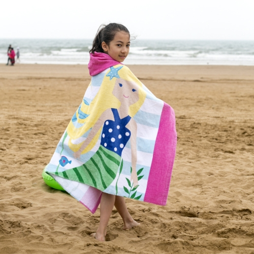 Buy Towel To Wear Hooded Cloak Bath Towel Absorbent Bathrobe Swim Clothes for Adult / Children, Size: 76x127cm for $9.84 in SUNSKY store