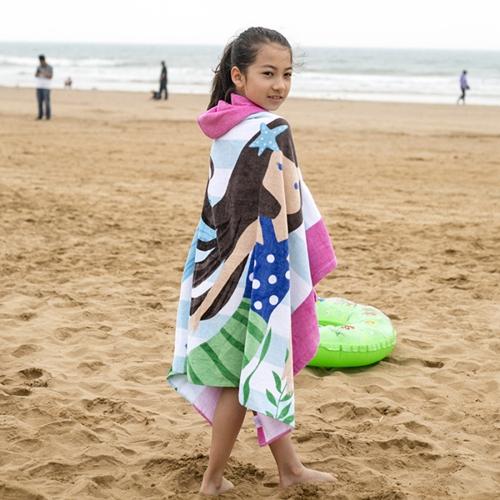 Towel To Wear Hooded Cloak Bath Towel Absorbent Bathrobe Swim Clothes for Adult / Children, Size: 76x127cm