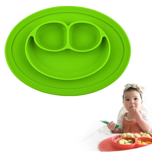 Buy Smile Style One-piece Round Silicone Suction Placemat for Children, Built-in Plate and Bowl, Green for $3.00 in SUNSKY store