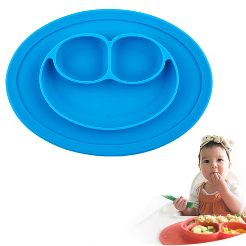 Buy Smile Style One-piece Round Silicone Suction Placemat for Children, Built-in Plate and Bowl, Blue for $3.00 in SUNSKY store