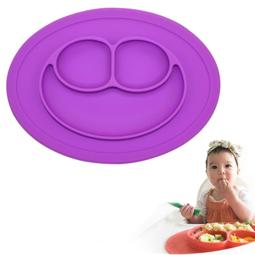 Buy Smile Style One-piece Round Silicone Suction Placemat for Children, Built-in Plate and Bowl, Purple for $3.00 in SUNSKY store