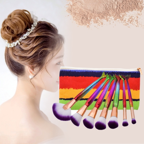 Buy 7 in 1 Mermaid Style Handle Makeup Brush Cosmetic Foundation Cream Powder Blush Makeup Tool with Portable Bag Set, Colour for $6.74 in SUNSKY store
