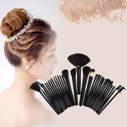 Buy 32 in 1 Wood Handle Makeup Brush Cosmetic Foundation Cream Powder Blush Makeup Tool Set, Black for $5.75 in SUNSKY store