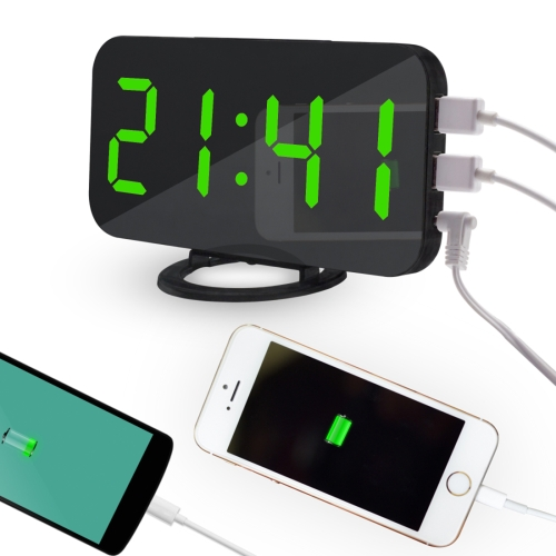 Multifunction Creative Mirror Reflective LED Display Alarm Clock with Snooze Function & 2 USB Charge Port(Green) multifunction charge