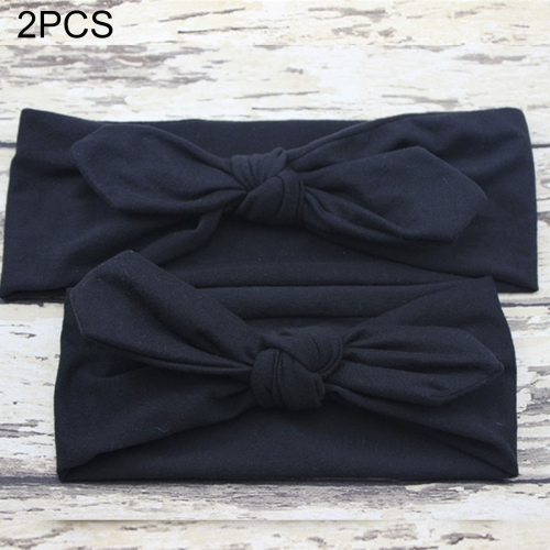 Buy 2 in 1 Mom and Baby Parent-child Creative Cute Bowknot Elastic Cotton Hair Band, Black for $2.80 in SUNSKY store