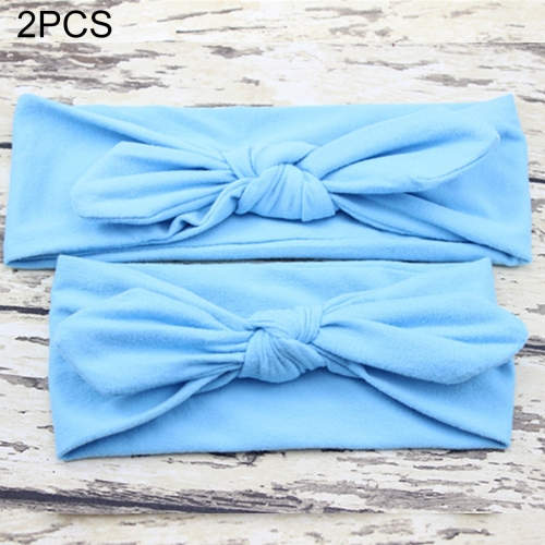 2 in 1 Mom and Baby Parent-child Creative Cute Bowknot Elastic Cotton Hair Band, Blue