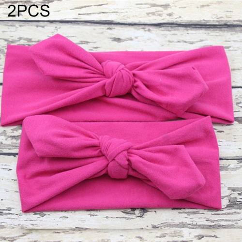 Buy 2 in 1 Mom and Baby Parent-child Creative Cute Bowknot Elastic Cotton Hair Band, Magenta for $2.80 in SUNSKY store