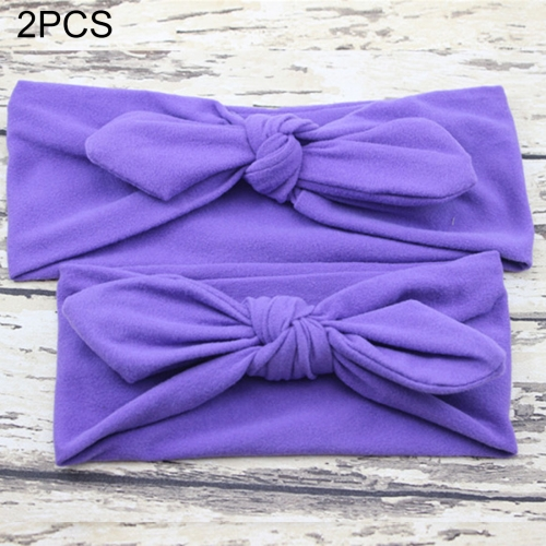 Buy 2 in 1 Mom and Baby Parent-child Creative Cute Bowknot Elastic Cotton Hair Band, Purple for $2.80 in SUNSKY store