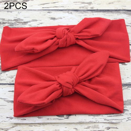 Buy 2 in 1 Mom and Baby Parent-child Creative Cute Bowknot Elastic Cotton Hair Band, Red for $2.80 in SUNSKY store
