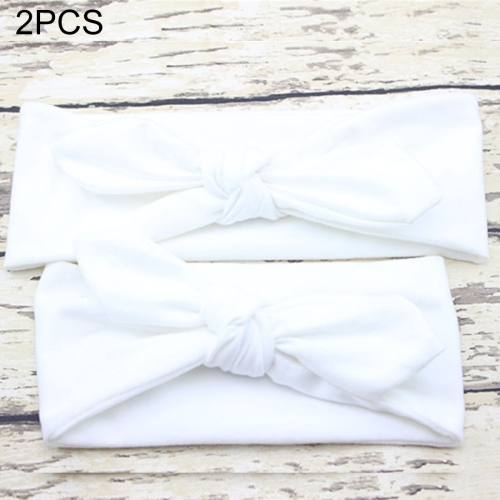 Buy 2 in 1 Mom and Baby Parent-child Creative Cute Bowknot Elastic Cotton Hair Band, White for $2.80 in SUNSKY store