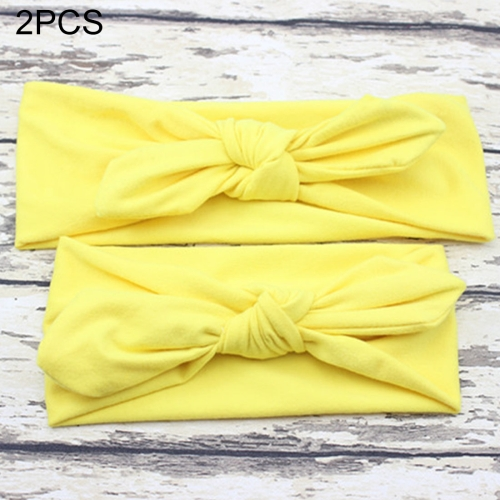 Buy 2 in 1 Mom and Baby Parent-child Creative Cute Bowknot Elastic Cotton Hair Band, Yellow for $2.80 in SUNSKY store