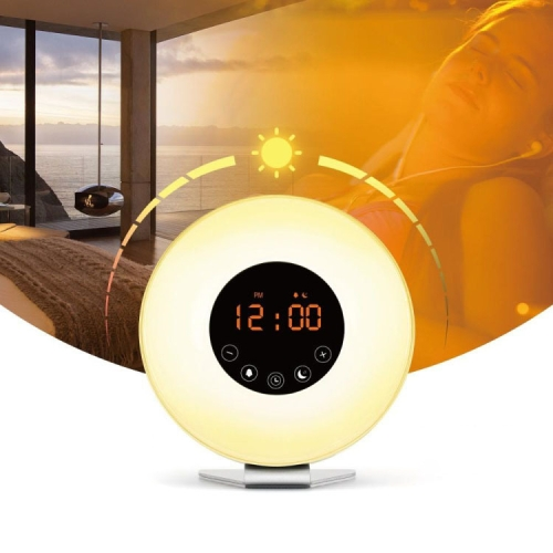 Multi-function Led Touch Intelligent Wake-up Light Alarm Clock with FM Radio