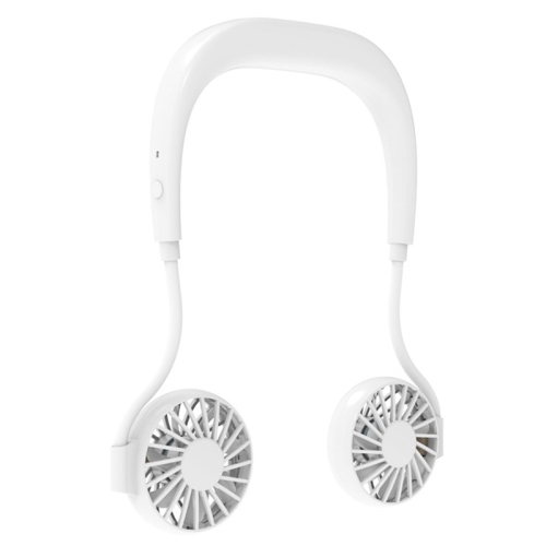 LSHOW YJK039 0.3W-1.2W Portable USB Charging Sports Mini Hanging Neck Type Universal Adjustment Fan(White)