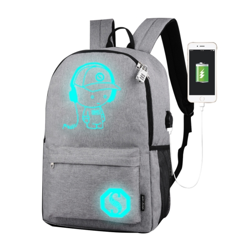 Buy Multi-Function Large Capacity Oxford Cloth Light Grey Music Boy Luminous Backpack Casual Laptop Computer Bag with External USB Charging Interface for Men / Women / Student, M, Size: 43*26*12cm for $9.45 in SUNSKY store