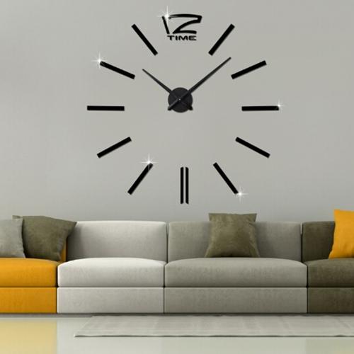 39 inch Bedroom Home Office Decoration Modern Frameless Large DIY 3D Mirror Wall Sticker Mute Clock(Black)
