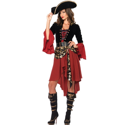 Buy Cruel Seas Captain Buccaneer Pirate Cosplay Costume Women Sexy Halloween Fancy Dress Clothing, Chest: about 90cm, Waistline: about 76cm for $13.51 in SUNSKY store