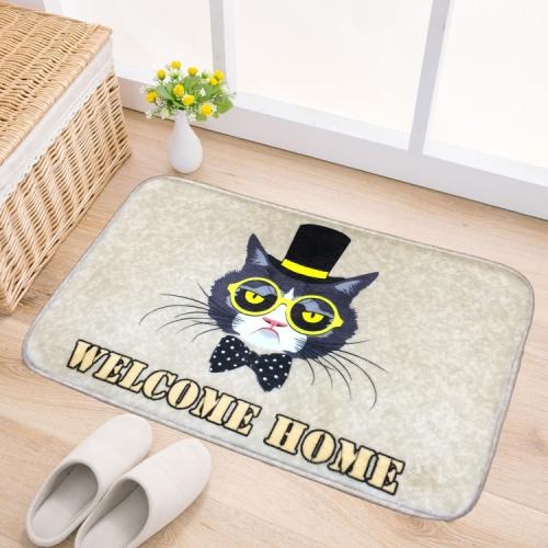 Buy Door Mat Cat and Dog Pattern Flannel Rectangular Bathroom Carpet Living Room Bedroom Anti skid Household Foot Pad,Size:40*60cm for $4.01 in SUNSKY store