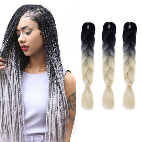 Fashion Color Gradient Individual Braid Wigs Chemical Fiber Big Braids, Length: 60cm(Black+Beige)