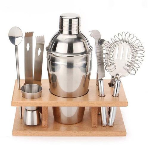 9 in 1 Stainless Steel Cocktail Shaker Tools Set with Wooden Mount, Capacity: 750ml фото