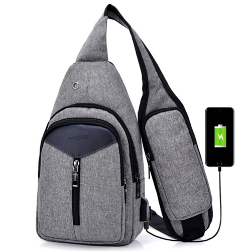 Portable Backpack Casual Outdoor Unisex Shoulder Bags Triangle Design Crossbody Bags Outdoor Sports Riding Shoulder Bag with External USB Charging Interface and Headphone Plug(Dark Grey)