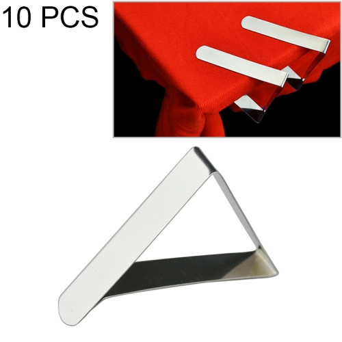 10 PCS Stainless Steel Tablecloth Clip Adjustable Triangle Clamp Holder