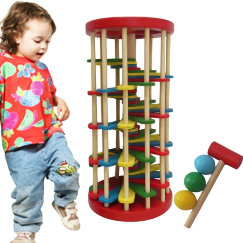 Children Toys Infant Educational Toys Wooden Toys Color Knock Ball Off the Ladder Tables Toys Intelligence Development