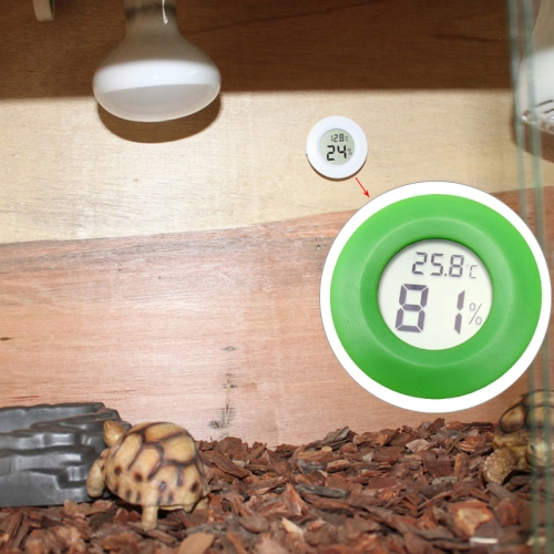 Buy Digital Round Shaped Reptile Box Centigrade Thermometer & Hygrometer with Screen Display, Green for $2.71 in SUNSKY store