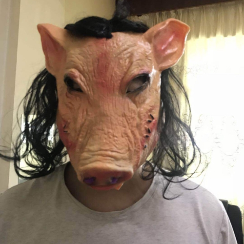 Buy Halloween Mask Latex Pig Head Cap Halloween Festival Party Fancy Pig Face Masquerade Masks with Hair for $4.02 in SUNSKY store