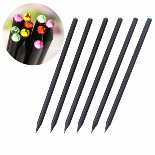 Buy 6 PCS / Box HB DIY Black Wood Pencil Diamond Series Standard Pencil Drawing Painting Supplies,Random Color Delivery for $2.09 in SUNSKY store