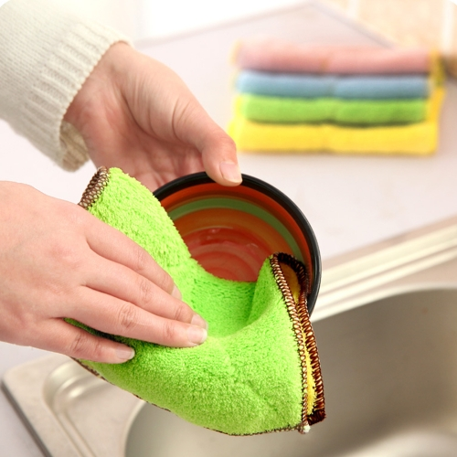 Buy 5 PCS Bamboo Fiber Washing Dish Towel Kitchen Cleaning Cloth Double-Sided Scouring Cloth Water Absorption Non-Stick Oil,Can Not Hang,Random Color Delivery for $1.35 in SUNSKY store