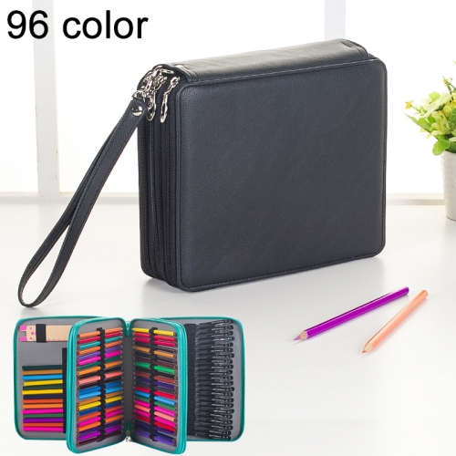 Buy 96 Slots Colored Pencil Case PU Leather Drawing Sketch Watercolor Pencils Holder Organizer with Hand Strap, Black for $8.87 in SUNSKY store
